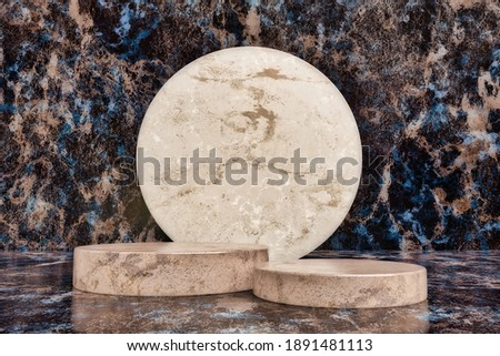 Scene to display advertising products made of cylindrical pieces of marble with a black marble background with brown and blue nuances. 3d render illustration. Photo stock ©