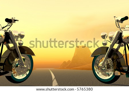 scene two motorcycles   executed in 3 D