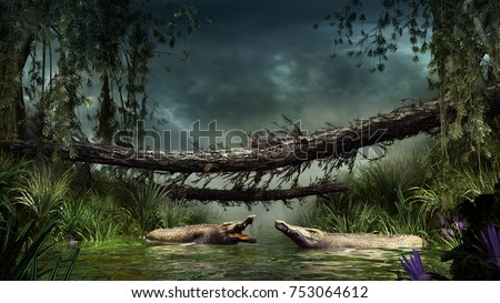 Scene with crocodiles, swamp and fallen trees. 3D illustration.