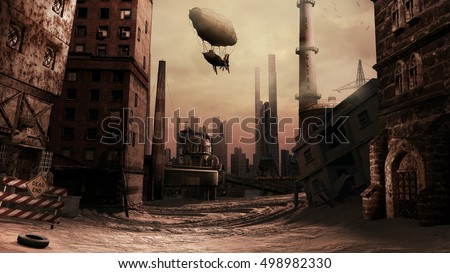 Scene with destroyed buildings and airship.3D illustration.
