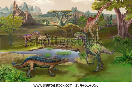 Scene with dinosaurs Asteroid explosion at the end of the prehistoric Jurassic, Cretaceous or Triassic era. Dinosaurs in prehistoric environment. Retro cartoon style abstract isolated illustration_02