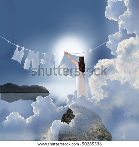 scene with drying laundry - stock photo