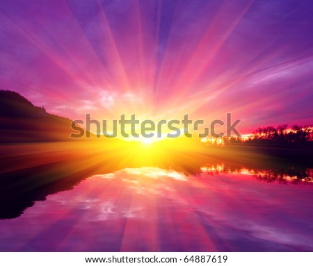 Scene with fantastic sunset on river - stock photo