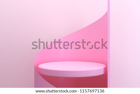 Scene with geometrical forms, pink round platform, minimal background, paper in the form, pastel platform, 3D render