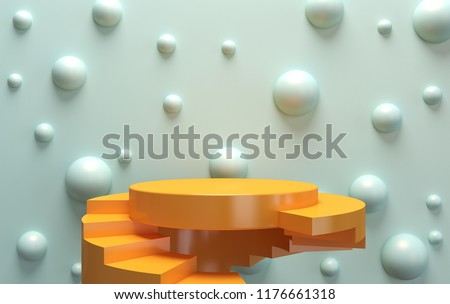 Scene with geometrical forms, round and square platform, minimal background, paper in the form, 3D render