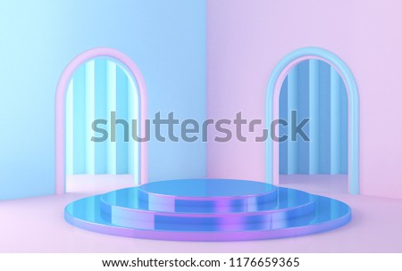 Scene with geometrical forms, roundplatform, minimal background, paper in the form, pastel colors, 3D render