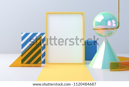 Scene with geometrical forms, the poster model, minimal background, a 3D render stock photo