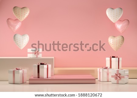 Scene with gifts and love hearts, Valentines day and mother's day concept. 3d illustration