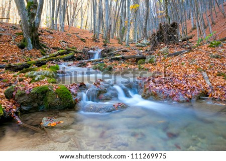 scene with mountain river in autumn forest