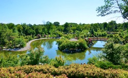 Scenery at Frederick Meijer Gardens & Sculpture Park, integrating horticulture and sculpture throughout the site.  Its Japanese Garden opened in 2015, with the tranquillity, simplicity and beauty.