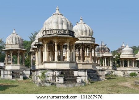 scenery at the Ahar Cenotaphs located in Ahar near Udaipur in India
