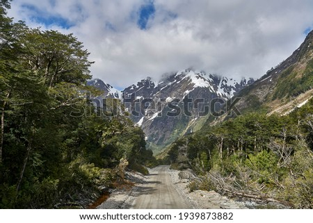 scenery at the carretera austral, a spectacular road leading to sout hchile in patagonia Foto stock ©