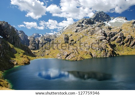 Scenery from Routeburn track- world renowned tramping (hiking) 32km track found in the South Island of New Zealand - stock photo