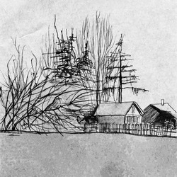 Scenery graphic landscape hand drawn illustration. Black and white winter landscape in countryside. Rural scene ink watercolor graphic. Wild nature forest, houses, fences. Abstract winter landscape