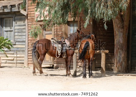 Scenery in a traditional American western town