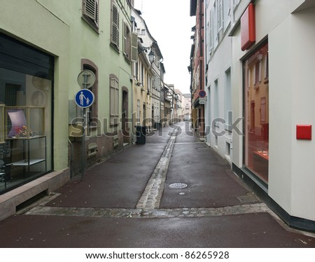 scenery in Colmar showing a small street (Alsace/France)