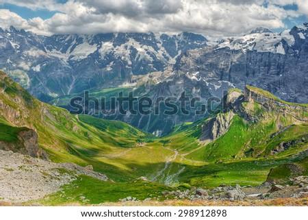 Scenery in the Bernese Alps in Switzerland, HDR-technique #298912898