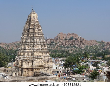 scenery including the Virupaksha Temple at the Sacred Center around Hampi, a city located in Karnataka, South West India