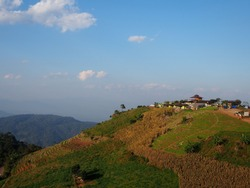 Scenery landscape of mountain and blue sky at Monjam Chiengmai Thailand