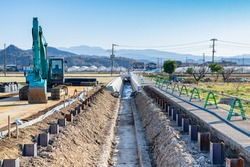Scenery of agricultural canal construction