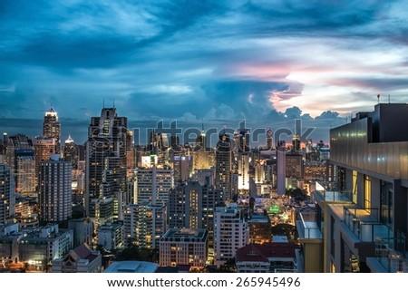 Scenery of Bangkok city at twilight epic sky.
