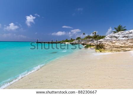 Scenery of Caribbean Sea in Mexico - stock photo