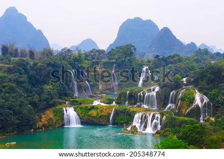 Scenery of Detian Waterfall in Guangxi, China
