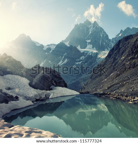 scenery of high mountain with lake and high peak #115777324
