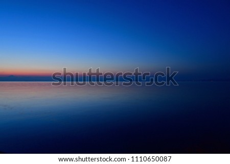 Scenery of Lake Biwa and Mt. Ibuki before dawn #1110650087