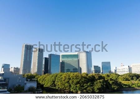 Scenery of modern skyscrapers in Shiodome,Tokyo