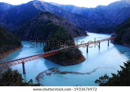scenery of  Oi river railway where is Unexplored region of  japan, sumata gorge,shizuoka prefecture,japan Foto stock ©