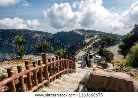 Scenery of road and people activity in Tangkuban Perahu tourist attraction, this is one of famous travel destination in Indonesia, especialy west java #1163668675