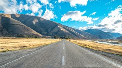 scenery of State Highway 8 in Canterbury region in south island of New Zealand