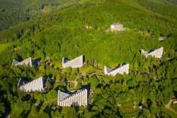 Scenery of the health resort in Ustron on the hills of the Silesian Beskids. Poland