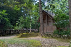 Scenery of the Motoise Naiku Kotai-jinja Shrine in Fukuchiyama, Japan