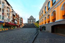 Scenery of the Ruins of St. Paul's Church in the Historic Center of Macao, with a paved promenade & a stairway leading to the beautiful facade of the historical architecture in Macau, China, Asia