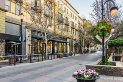Scenery of the shopping district in San Jose, California