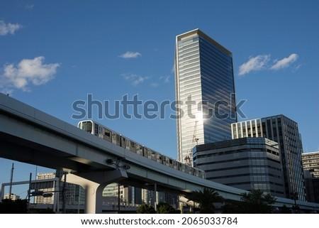 Scenery of Tokyo Takeshiba  skyscrapers and monorail