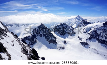 scenery of Valley Titlis snow mountains, Engelberg, Switzerland #285860651