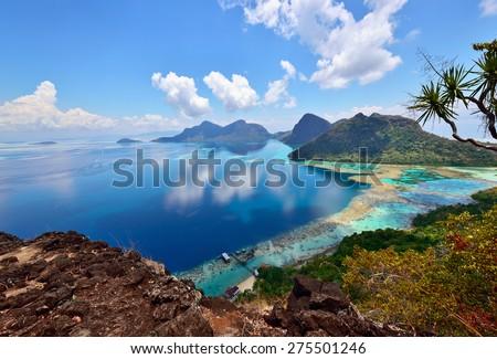 Scenery on top of Bohey Dulang Island near Sipadan Island. Sabah Borneo, Malaysia.