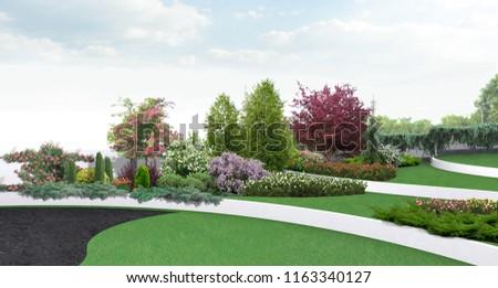 Scenery style estate landscape design, 3D render