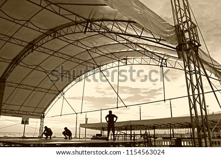 scenery temporary structure and white canvas tents set up for outdoor event in silhouette style so impressive pattern for building background