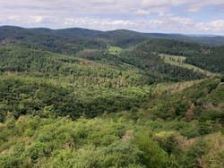 scenery. view from the height of the pyrode. hills