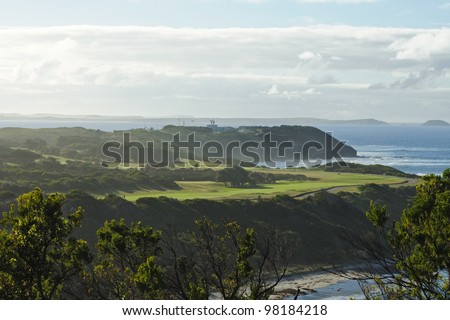 Scenery view on golf course on ocean beach in summer at Flinders in Victoria, Australia