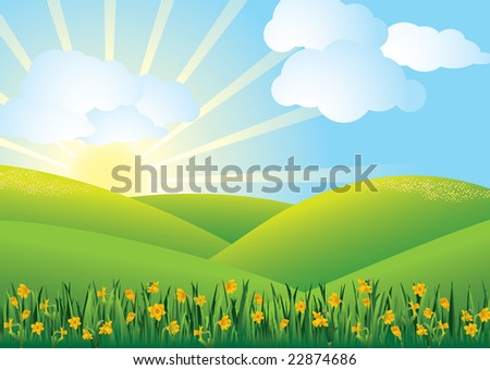 Scenery with daffodils and hills