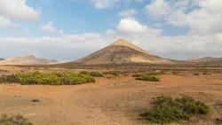 Scenery with dormant volcanos at La Oliva, Fuerteventura, Canary Islands.