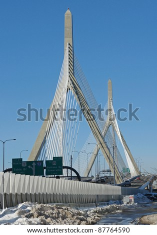 "scenery with ""Zakim Bunker Hill Bridge"" in Boston (Massachusetts, USA) at winter time in sunny ambiance"