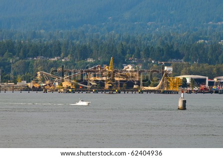 Scenes of Industry and Shipping Equipment in Vancouver Harbour British Columbia, Canada