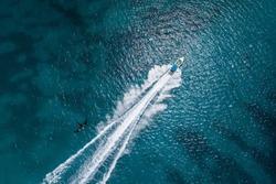 Scenic above bird's eye view of speedboat's wake  in Caribbean sea, Dominican Republic