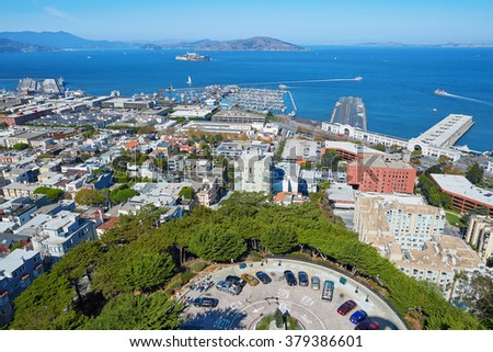 Scenic aerial cityscape of san Francisco seen from Coit tower, California, USA
